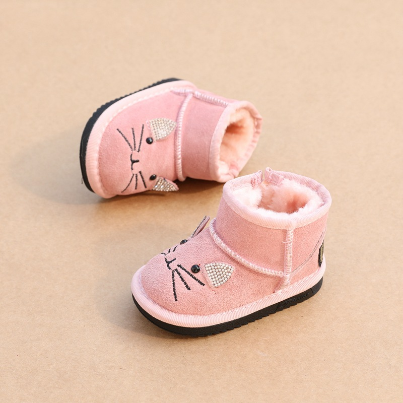 2019 Winter Genuine Leather 1-2y Baby Girls Snow Boots Infant First Walkers Bebe Boys Cotton Boots Baby Girls Shoes