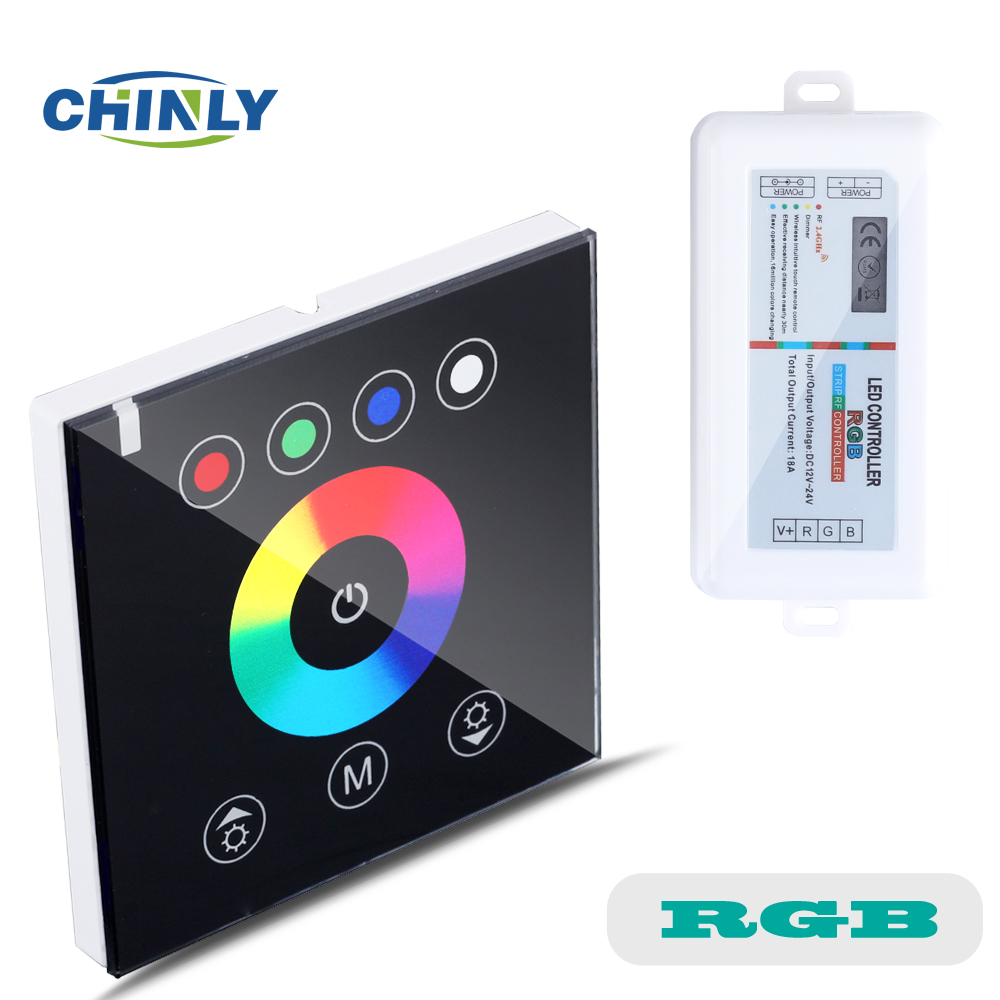 RGB Controllers 2.4G Wireless Black Color Switch Touch Wall Controller Led Dimmer For DC12V LED Neon Flex Strip Lights