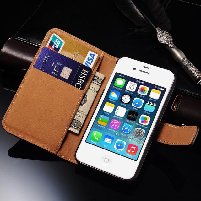 e36fdec39eb Funda de cuero con tapa 4S para iPhone 4S 4 funda de teléfono móvil de lujo