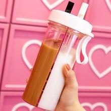 Бутылка для горячей воды, бутылка для воды с соломинкой, креативная, для фитнеса, без бисфенола, двойное использование, бутылки для воды, колба для девочки