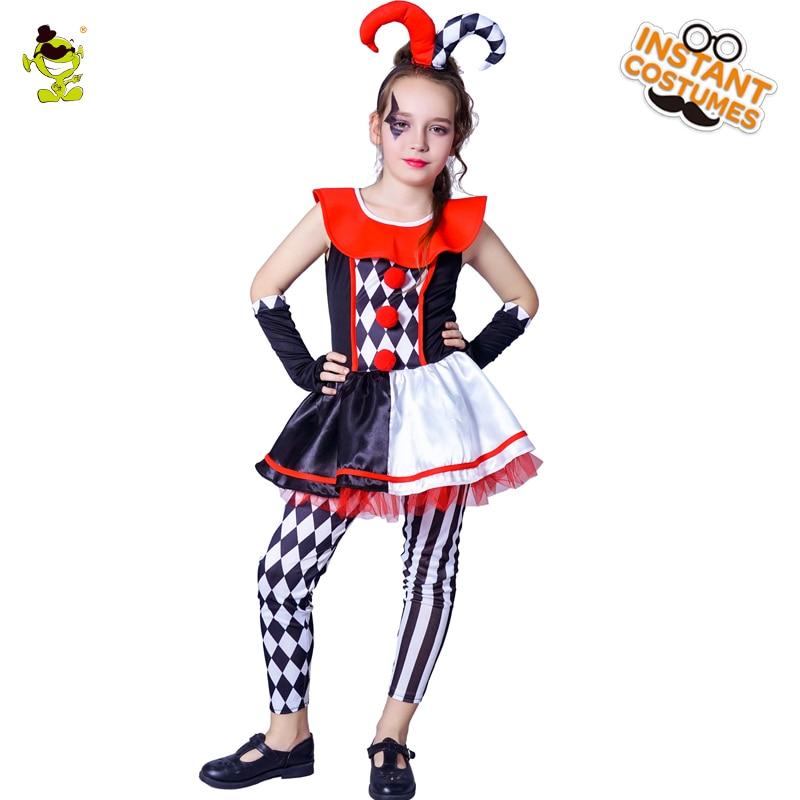 Enge Kostuums Halloween.Nieuwe Evil Jester Kostuums Meisjes Enge Clown Killer Rollenspel Outfit Kinderen Party Masquerade Halloween Party Enge Clown Pak