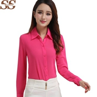 2016 Summer New Long-sleeved Chiffon Shirt Lapel Floral Women Shirts Blouses Ladies Blusas Fashion Women Tops Solid Arrival