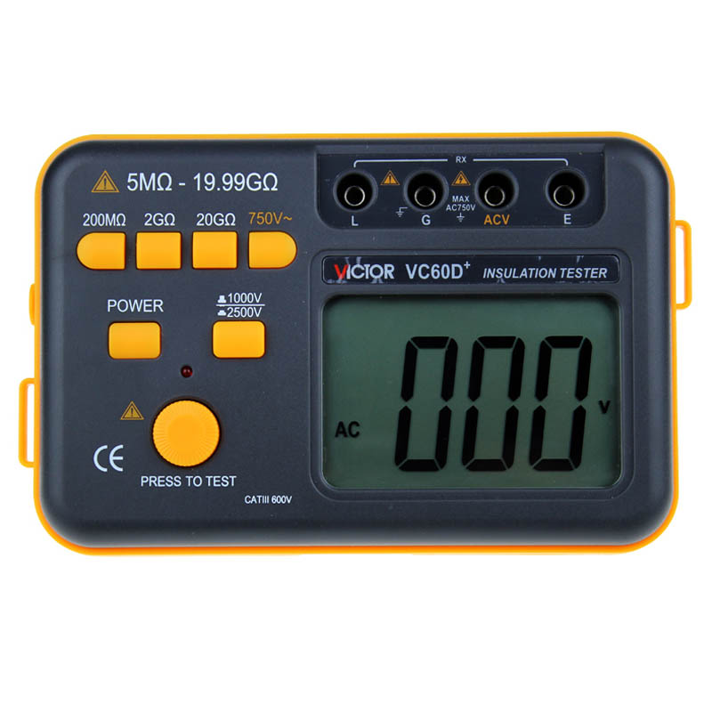 VICTOR VC60D+ LCD Digital Insulation Resistance Tester Megger MegOhm Meter Testers Measure 20G Resistance 1000V/2500V as907a digital insulation tester megger with voltage range 500v 1000v 2500v