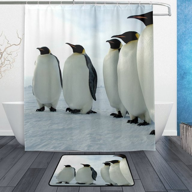 Sea Animal Shower Curtain And Mat Set Black White Penguins Waterproof Fabric Bathroom