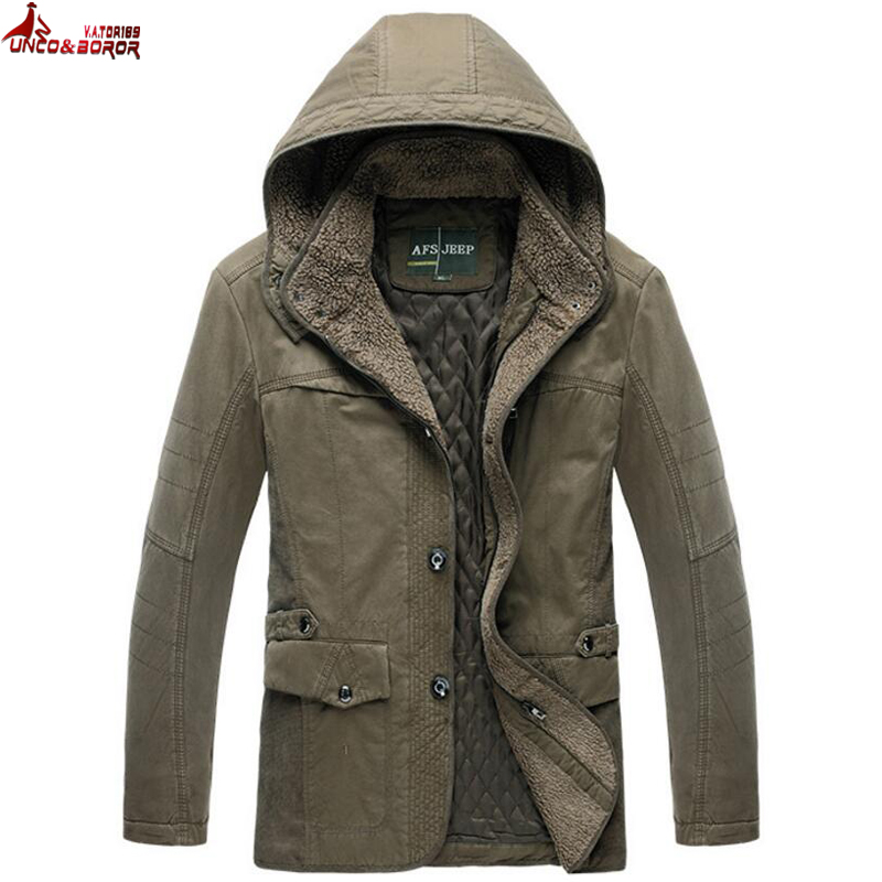 UNCO&BOROR new warm Winter Jacket Parka For Men Detachable Hooded Jackets Male Coats Casual Business cotton-padded Down Parkas