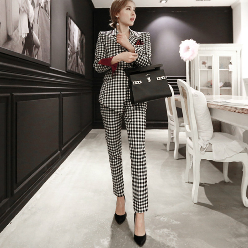 Ladies Business Office Suit Set Casual High Quality Long Sleeve Plaid Blazer Suit Pants Suit Female 2019 Winter New Style