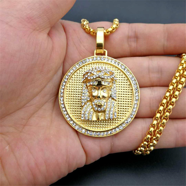 Hip Hop Iced Out Rhinestone Jesus Piece Neck Necklaces Pendants Gold Color Stainless Steel Chain For Men Christian Jewelry