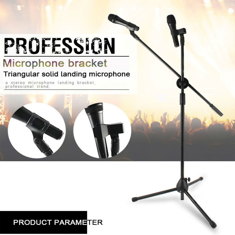 Floor-standing Tripod Foldable Microphone Stand Holder Adjustable Desktop Mic Stand Clip Shock Mount For Table Karaoke Rotate Q7