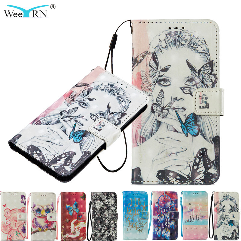 WeeYRN 3D Cute Glossy Case for Xiaomi Redmi 4X Luxury Phone Case PU Leather Flip Wallet Soft Silicone Cover for Xiaomi Redmi 4X