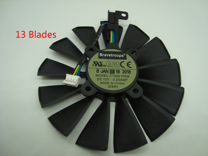 Купить с кэшбэком Free Shipping T129215SM 95mm Cooler Fan For ASUS STRIX RX 470 580 570 GTX 1050Ti 1070Ti 1080Ti Gaming Video Card Cooling Fan