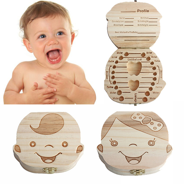 Baby Gift Wood Baby Girl Boy Tooth Organizer Boxes Save Deciduous Teeth Storage Keepsakes Collecting