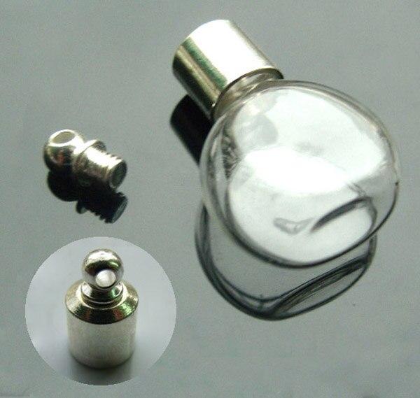 20PCS 6MM Cognac Bottle With Screw Cap Glass Vials Pendants Mini Wishing Bottle Empty Hollow Glass Necklace Pendant