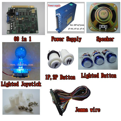 [1 kit] arcade game 60 in 1, power supply, speaker, lighted joystick, lighted button, 1P2P button jamma wire, PCB feet sanwa button and joystick use in video game console with multi games 520 in 1