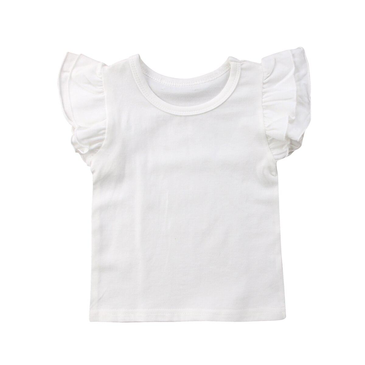 Toddler Baby Kids Girls Tops Basic Ruffle Fly Sleeve T-Shirt