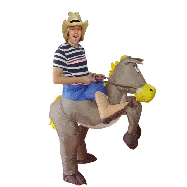 Best Sell Inflatable Cowboy Dinosaur Costume Ride On Horse Fancy Party  Dress Halloween Cosplay T Rex Costumes For Adult Kids