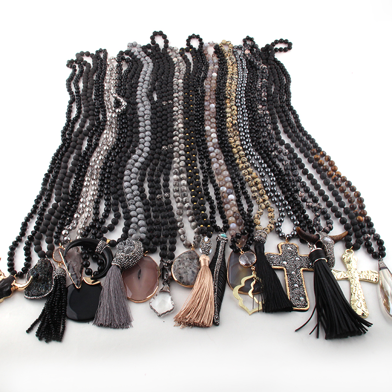 Wholesale Fashion 20pc Mix Color Black Gray Necklace Handmade Women Jewelry