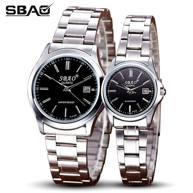 1 par para los amantes de relojes sbao marca astilla de lujo serie de gama alta de ocio parejas relojes modelos simples de la moda reloj de regalo
