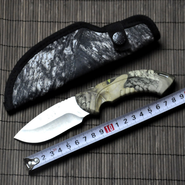 Hot Buck Straight font b Knife b font 7Cr15Mov 58HRC Blade ABS Camouflage Handle Camping font