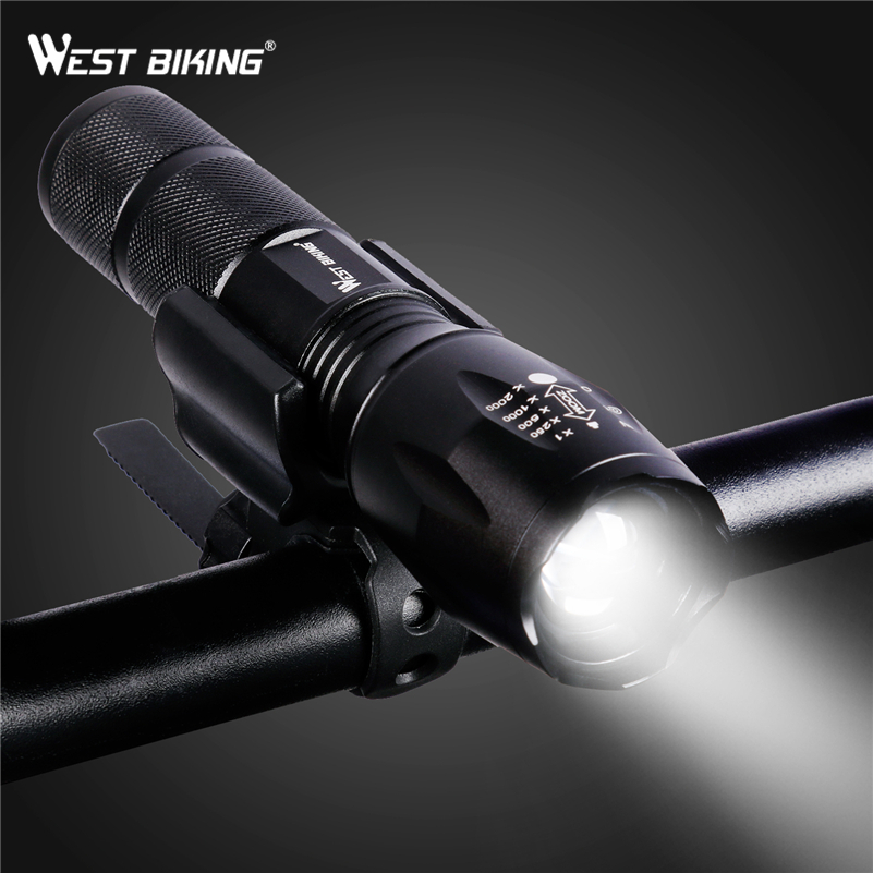 WEST BIKING Bike Focusing Flashlight Rechargeable Cycle LED Flashlight Water Resistant Brightest Torch For Biking Bicycle Light ...