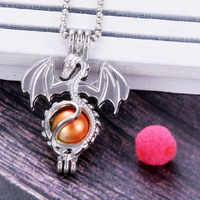 Dragon shape Pendants Pearl Cage Necklace Locket Vintage Aromatherapy Essential Oil Diffuser Chain Locket For Girl Charm
