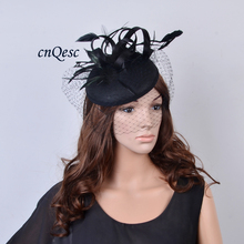 New Elegant Black wedding fascinator Kentucky Derby hat felt base fedora with feathers&veil for races prom church party.QF077