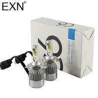 2pcs H4 LED Headlight Kits COB Chips 7600LM 72W 6000K White High Low Dual Beam All