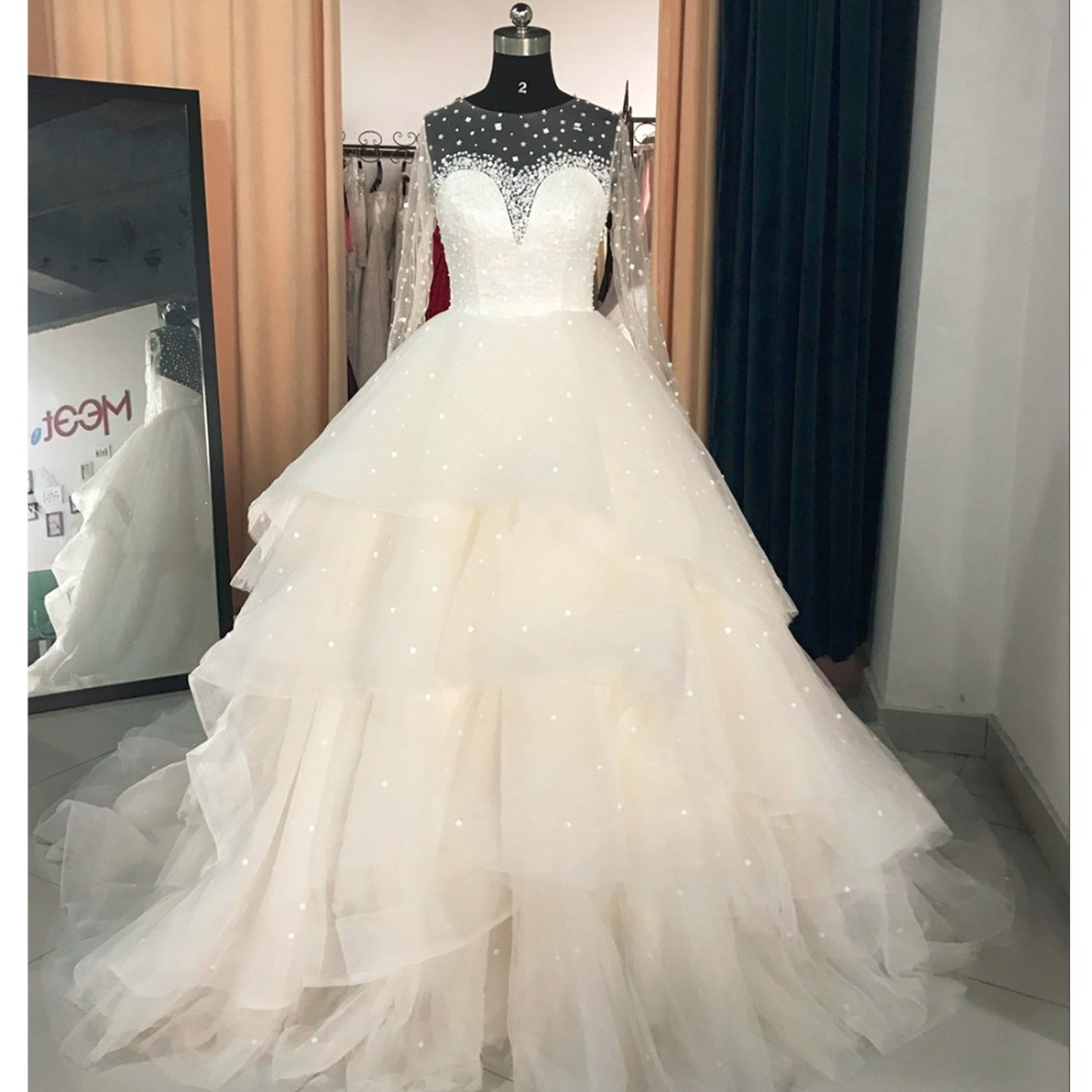 Real Samples Ball Gown Puffy Wedding Dress 2017 Sheer Back Long Sleeves Crystal Gowns Robe