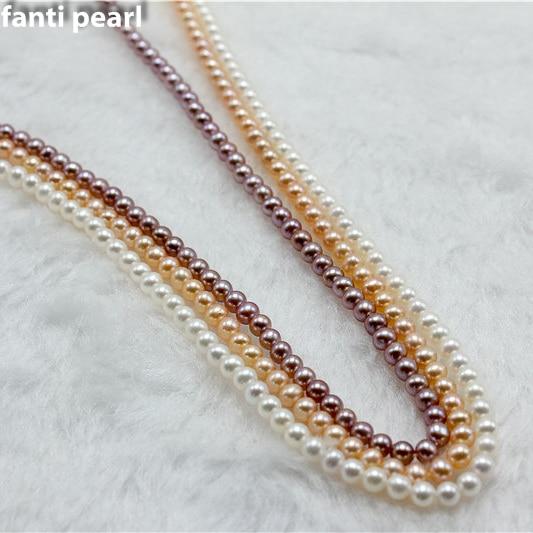 Style casual collier de perles collier de perles d'eau douce 3-3.5 AAAA ronde à la main perle brin petite perle collier - 6