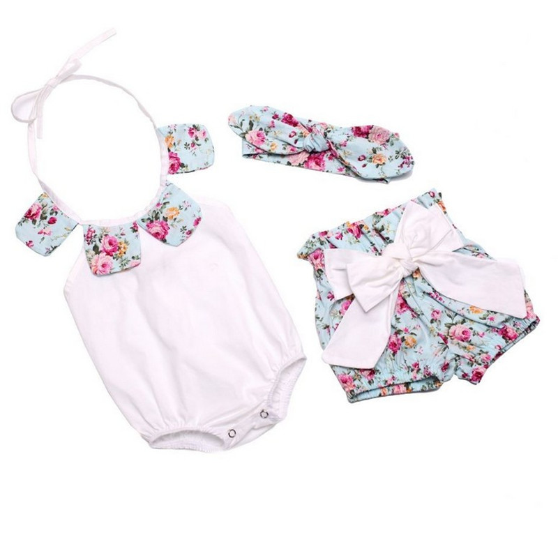 Floral Baby Rompers Toddler Summer Boutiques Baby Girls Romper+Short Pant+ Bow Headband Vintage Newborn Ruffle Neck Clothes Set summer newborn baby rompers ruffle baby girl clothes princess baby girls romper with headband costume overalls baby clothes