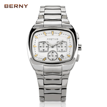 2017 New Silver Full Steel Wristwatch Men's Watches the Best Luxury Brand BERNY Fashion Male Clock Watch Waterproof Quartz-watch