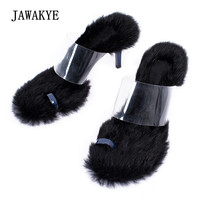 Novelty PVC Clear Fur Gladiator Sandals Woman Open To 7.5CM High Heel Shoes Women Sexy Muller Shoes Party