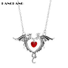 HANCHANG Women Choker Game of Thrones Dragon Heart Sweater Chain Necklace Fashion Jewellery Pendants Necklaces collares(China)