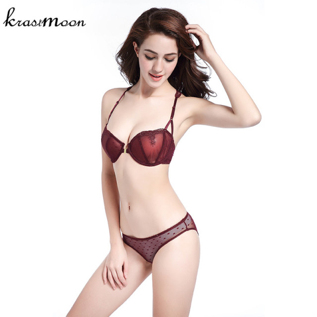 Intimates 2017 New Women Sexy Lingerie Thin Lace Y-line Straps Front Closure Bra and Panties Transparent Bra set Underwear BS10