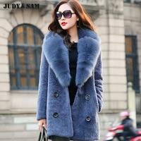 Для женщин зимние стрижки овец Мех животных верхняя одежда Мех животных пальто с большим изображением лисы меховой воротник ягненка Мех жи