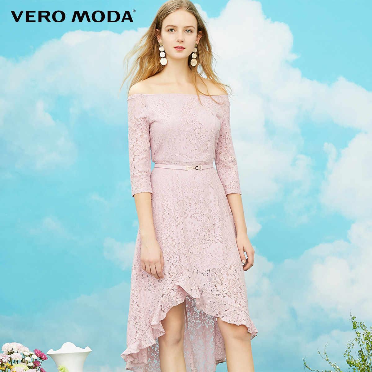 Vero Moda/весеннее кружевное платье с рукавами три четверти и оборками; зимнее платье; 318161502