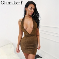 Glamaker Bright Silk Lace Up Evening Party Dress Women Backless Sexy Summer Dress Club V Neck