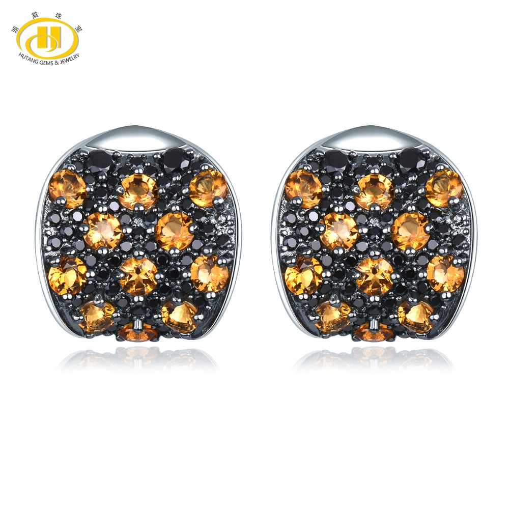 Hutang Natural Citrine Stud Earrings 925 Sterling Silver Gemstone Black Spinel Fine Elegant Classic Jewelry for