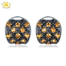 Hutang Natural Citrine Stud Earrings 925 Sterling Silver Gemstone Black Spinel Fine Elegant Classic Jewelry for Women's Gift New