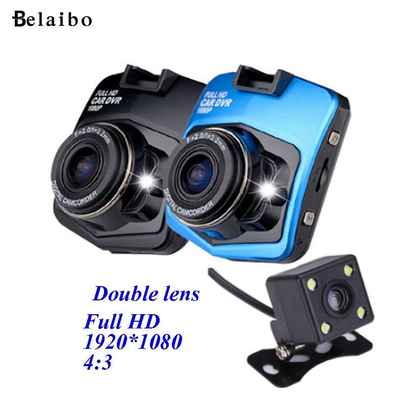 Voiture Dvr GT300 2.4 ''Full hd Novatek 1080 P Double lentille caméra Vidéo Enregistreur Trace Cam Avec Parking Arrière Caméra Dash cam BlackBox