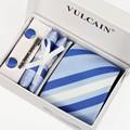 Marca azul royal Escuro Prata azul Branco Listrado gravatas + lenço abotoaduras caixa de presente & tie clip 5 conjuntos para homens moda