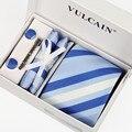 Marca royal azul Oscuro azul Blanco Plata corbatas Rayadas + pañuelo caja de regalo de las mancuernas y corbata clip 5 sets para hombres de la moda