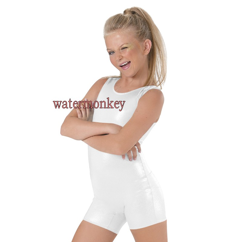 Girls Shiny Suit Ballet Dance Wear Sleeveless Bodysuit women Running Tight Jumpsuit Lycra Suit Shiny Metallic Unitard