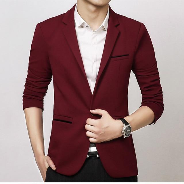 Brand Mens Casual Blazers Autumn Spring Fashion Slim Suit Jacket Men Blazer Masculino Clothing Vetement Homme M~5XL HF1415 4