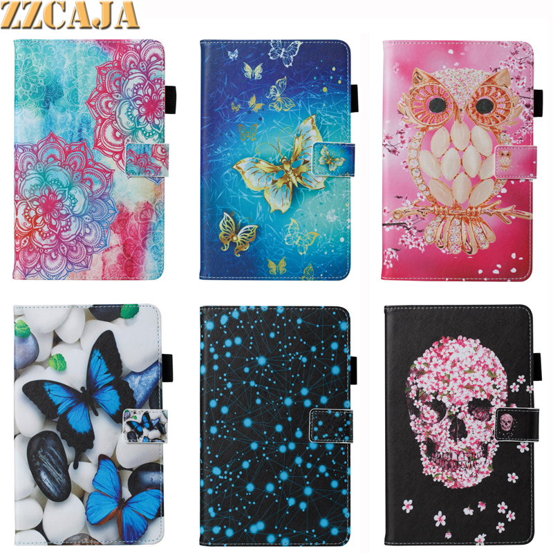 Painted Skull Owl Butterfly PU Leather Stand Holder Cover Ca