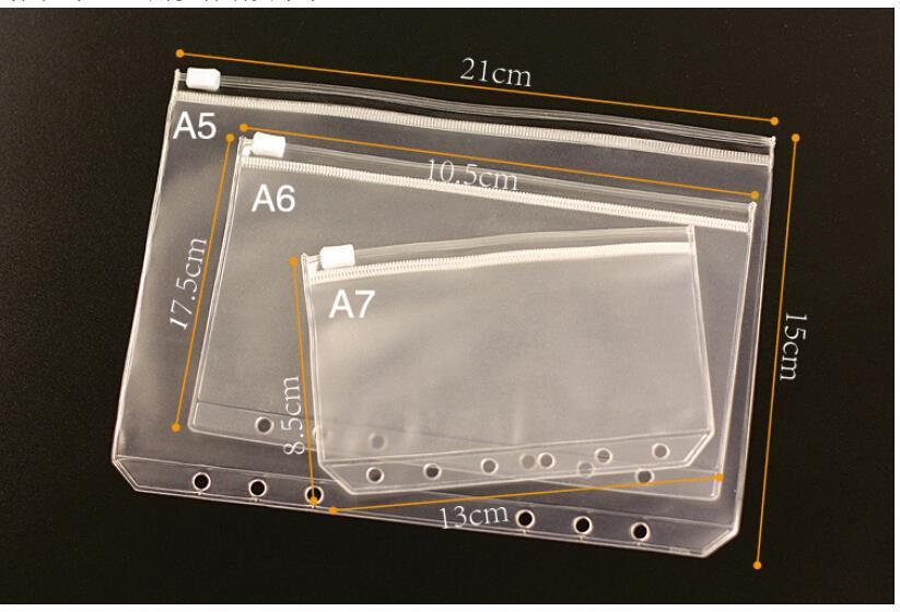 3 Sizes A5 / A6 / A7 1PCS Transparent PVC Storage Bag Card Holder Bag PVC Presentation Binder Folder Zipper Receive Bag