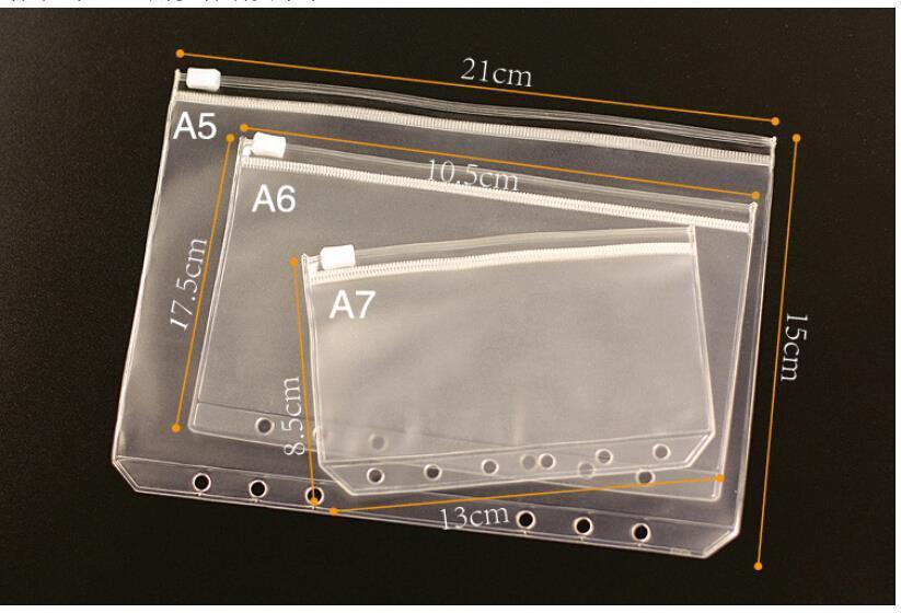 3 Sizes A5 / A6 / A7 1PCS Transparent PVC Storage Bag Card Holder Bag PVC Presentation Binder Folder Zipper Receive Bag