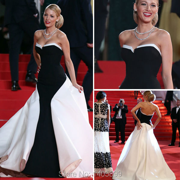 Blake lively red carpet dress white and black sweetheart neck off the shoulder floor length - Black and white red carpet dresses ...