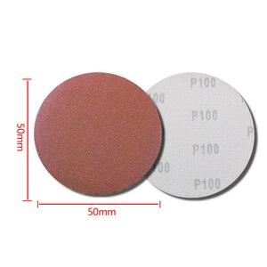 Image 5 - 100 шт. шлифовальный диск полировальный шлифовальный диск 50 мм 60 2000 Грит бумага + 1 шт. пластина с крючком петлей подходит для электрической шлифовальной машины Dremel 4000 абразивный