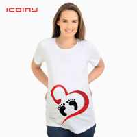 Summer Womens Short Sleeve Cute Maternity Pregnant T shirts Tops Loose Mommy Funny Print Funny Cartoon Tees S M L XL XXL