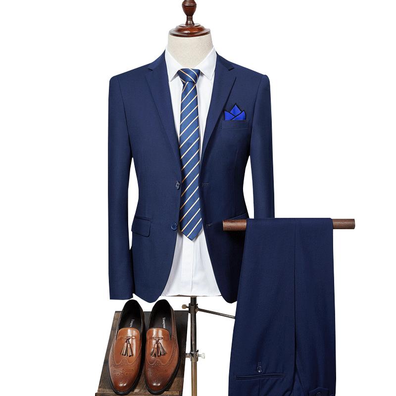 Suit Two-piece Suit (coat + Pants) Men's Wedding Suit Dress Exquisite Pocket Towel With Men's Fashion Slim Business Casual Suit